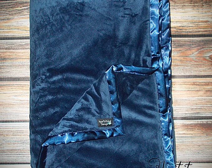 Minky Blanket, navy Minky, blue Minky, Minky for man, Oversized Blanket, Minky Quilt, Valentines gift for Men, Silver Blanket, black minky