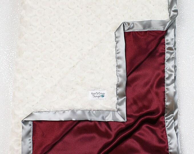 Minky Blanket, Maroon Blanket, Maroon and Cream, TAMU, Scarlet, Texas A&M, Minky and Satin, Blanket for Man, Baby boy, blanket for women