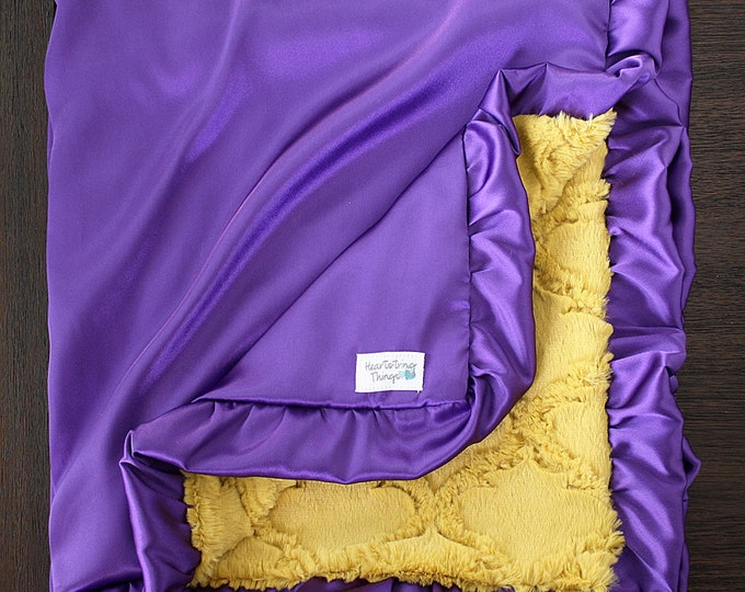 READY TO SHIP: Minky and Satin Blanket, Adult size blanket, Purple satin, Yellow Minky, Mustard Minky, Lattice, Ruffle, Lsu, school colors