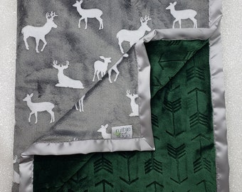 READY TO SHIP Minky blanket, baby boy, deer blanket, arrow blanket, green and grey, evergreen minky, embossed arrow, boho blanket, soft