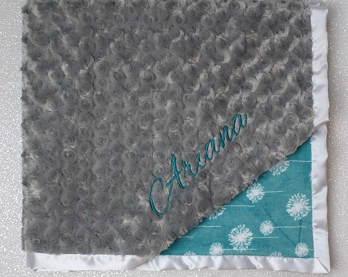 Embroidered Minky Blanket, minky baby blanket, personalized baby blanket, baby girl, minky blanket, dandelion, teal and grey, baby gift