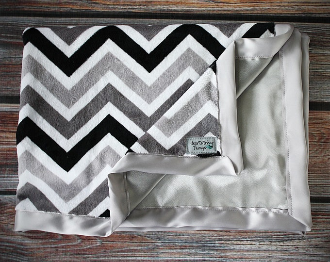 Minky Blanket, Child Blanket, chevron blanket, grey and white chevron grey and aqua, baby girl, baby boy, unisex blanket, silk blanket satin