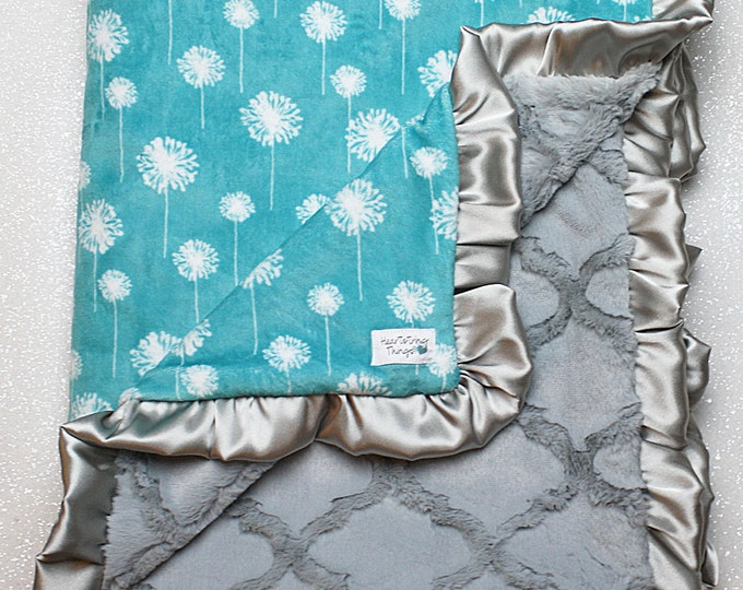 Minky Blanket, Dandelion Floral Blanket, Silver Lattice blanket Teal and Grey, Silver, baby girl blanket, blue green and grey, plush minky