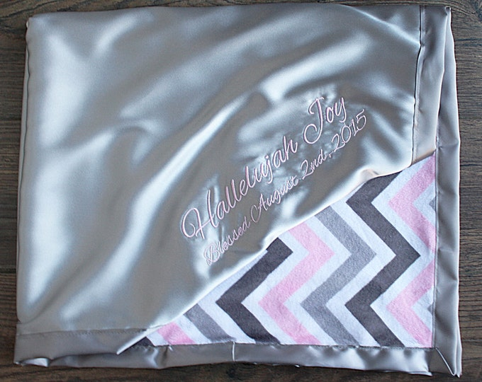 Baby girl, blanket for girl, embroidered blanket, blanket with name, personalized blanket, grey and pink, chevron blanket, ruffle blanket