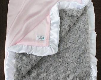 Custom Minky Blanket, pink blanket, blanket with ruffle, silk blanket, minky and satin, baby blanket, baby girl, pink and grey, silky, satin