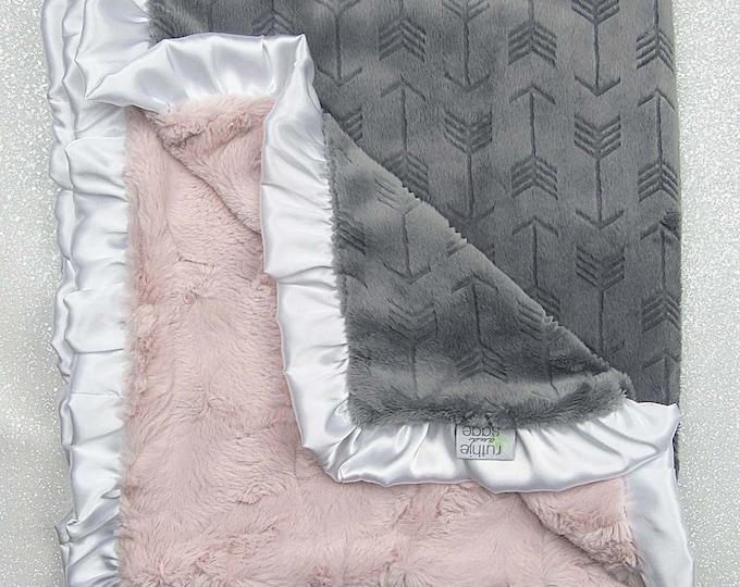 Minky blanket, luxe hide, ruffle blanket, Rosewater hide, grey arrow baby girl blanket, vintage pink elegant plush blanket, boho blanket