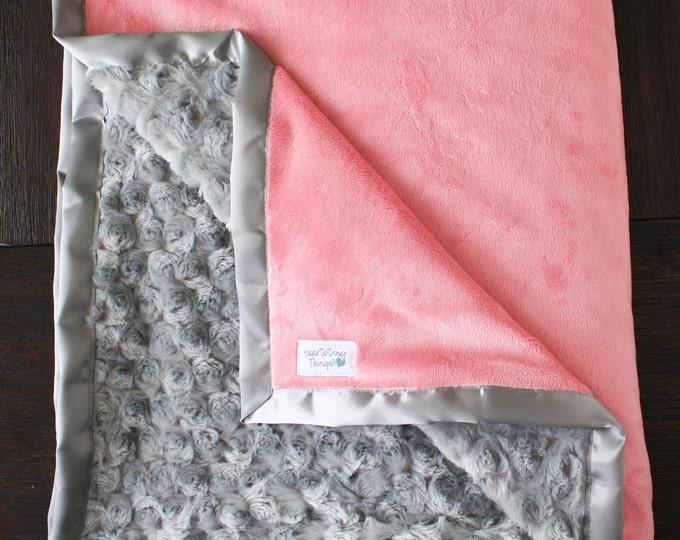 Coral minky, baby girl blanket, Adult minky blanket, coral and grey, Custom minky blanket, coral blanket, baby girl blanket, baby gift, baby