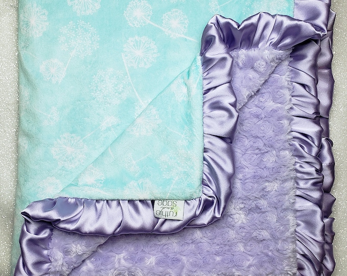 READY TO SHIP: Minky Blanket, baby girl, mint and purple, aqua and white, soft blanket, dandelion, mint, baby gift, crib bedding, baby gift