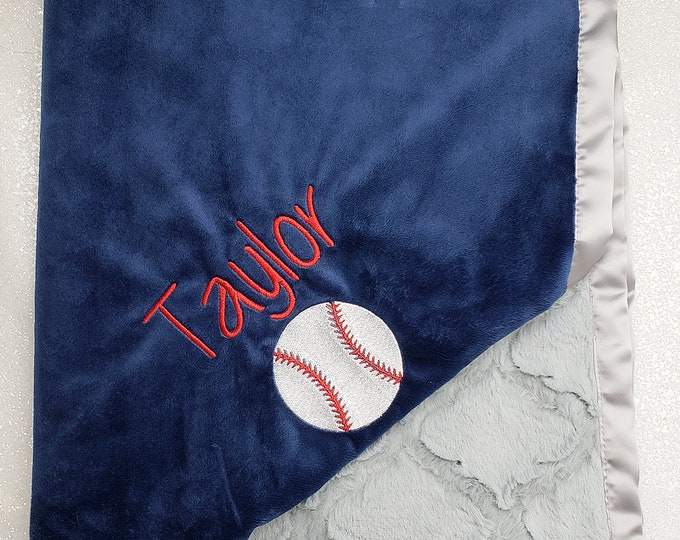 Minky blanket, Baseball blanket, personalized baseball, embroidered name, sports blanket, boy blanket, navy and grey, baby boy, baby gift