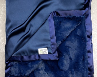 Baby Blanket, Blue Blanket, silky blanket, Baby boy, Adult Minky, Navy blue blanket, satin blanket, soft blanket, plush blanket for man