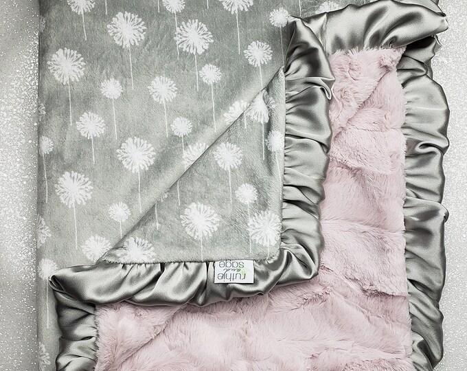Minky Blanket, baby girl, blanket for girl, pink and grey, Dandelion minky, soft blanket, Rosewater Hide Print, Ruffle Blanket, Lovie, Silk
