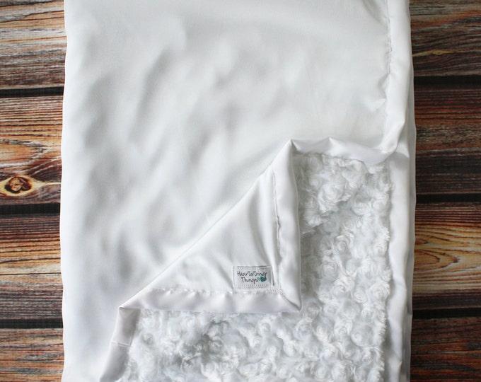 Minky Blanket, Blessing Blanket, Baptism blanket, satin and minky blanket, Christening Blanket, Baby Gift, bab blanket, soft Blanket, White
