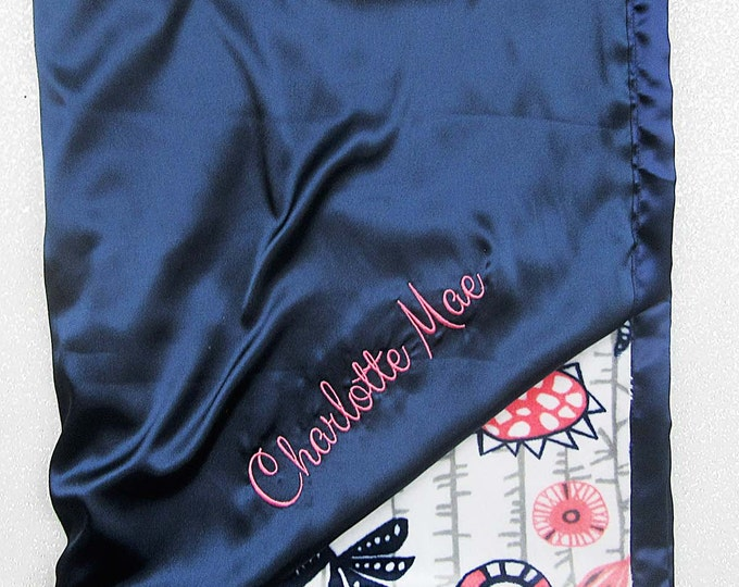 Minky blanket, embroidered blanket, personalized blanket, baby girl, coral and navy, bird blanket, blanket with name, silky, satin blanket