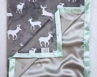 Minky Blanket, Silver and mint, Adult Minky Blanket, large minky, Blanket for Man, Silver Blanket, satin minky, deer minky, satin blanket