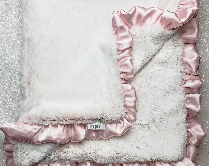 READY TO SHIP: Minky blanket, baby girl blanket, pink and white, faux fur, Frosted Rosewater, baby gift, baby shower, baby girl soft blanket