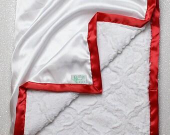 Minky Blanket, Blessing Blanket, red and white blanket, custom blanket, Baptism blanket Christening Blanket, Baby Gift, silky satin blanket