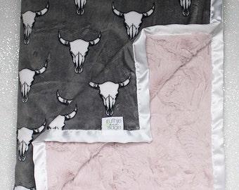 custom name blanket steer baby blanket Baby girl cow skull name blanket boho baby gift personalized cow skull baby gift boy or girl