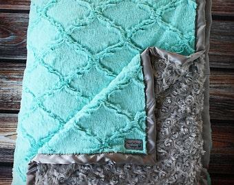 Minky Blanket, baby girl, blanket for girl, blue and grey, grey and greenish blue, soft blanket, Lattice Print, Ruffle Blanket, Lovie, Silk