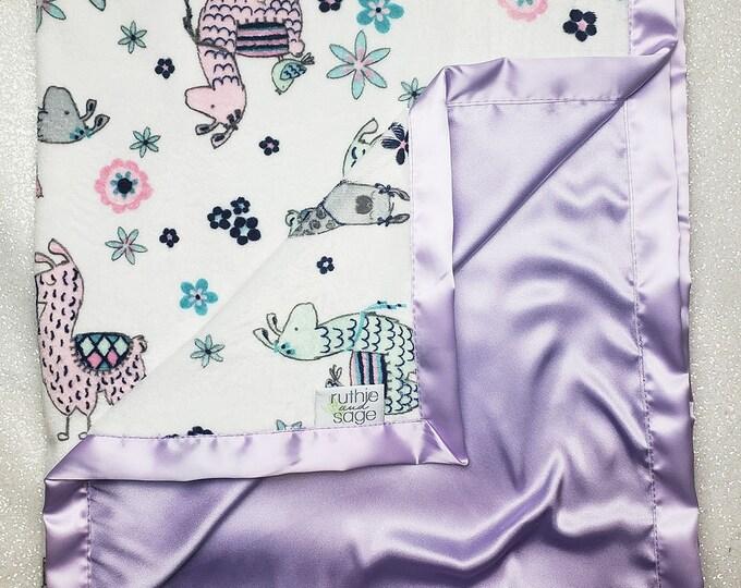 Minky Blanket, custom baby blanket, baby girl gift, llama blanket, lavender silk, ruffle blanket, satin blanket, silk blanket, purple, blush