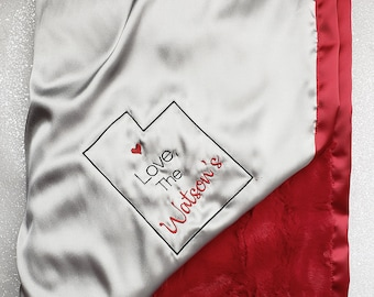 Minky blanket, embroidered blanket, personalized blanket, Momento gift, special gift, State momento, red and silver, red and grey, love