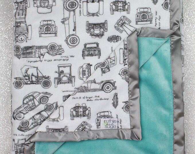 Baby boy blanket, cars blanket, automobiles, RKC, cars nursery, baby gift,  Boy Minky, Baby boy blanket, Aqua Minky, seaglass hide, minky