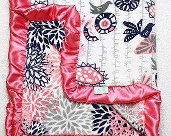 READY TO SHIP Minky blanket, baby girl blanket, baby gift, Floral blanket, Navy and grey, Navy and silver, Wildflower, Coral, bird,