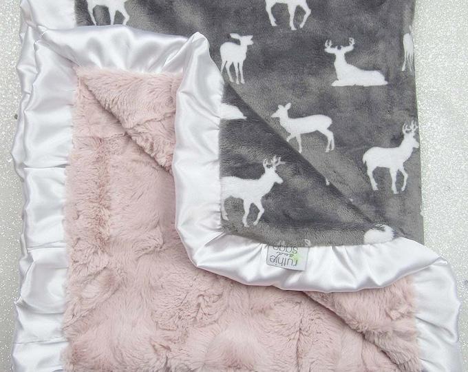 Minky Blanket, boho baby Blanket, baby girl, modern blanket, hipster baby, pink and grey, deer head, ruffle blanket, baby gift, plush minky