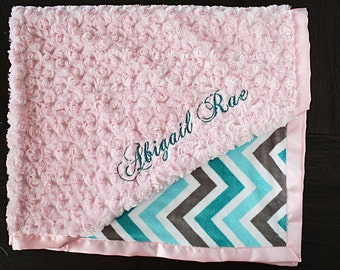 Embroidered Minky Blanket, Blanket with name, Baby Girl, Baby Gift, Teal and pink, aqua and pink, Engraved Blanket Aqua and Grey, Silver