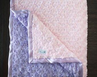 Minky Blanket, baby girl, blanket for girl, pink and purple, custom blanket, soft blanket, princess blanket, Ruffle Blanket, Ruffle blanket