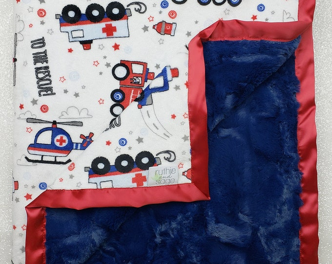 Minky Blanket Navy Blue, To the rescue, Fire truck, police, red white and blue, first responder, plush, baby boy, sirens, life flight