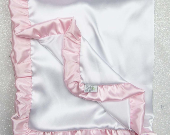 Satin blanket, charmeuse satin, double-sided satin blanket, satin, silky blanket, silk blanket, soft blanket, white and pink, ruffle blanket