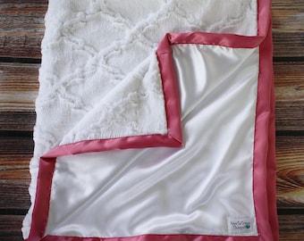 Minky Blanket, White blanket, baby girl, white and pink, lattice blanket, white lattice, aqua lattice, pink lattice, Silk and Minky, Satin