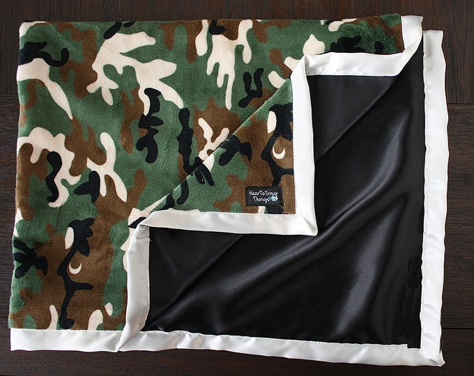 Minky Blanket, Hunting blanket, black satin, Camo minky, silky blanket, black and cream, military blanket. blanket for men,, adult blanket