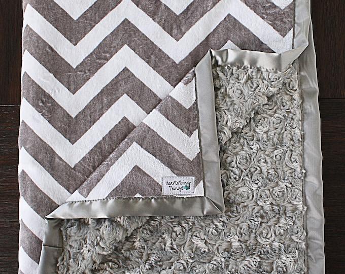Minky Blanket, Child Blanket, chevron blanket, grey and white chevron, baby girl, baby boy, unisex blanket, soft blanket