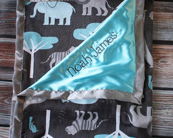 Baby Blanket, Minky blanket, jungle minky, aqua minky, grey and aqua, Animal minky, Embroidered Blanket, personalized blanket, soft blanket
