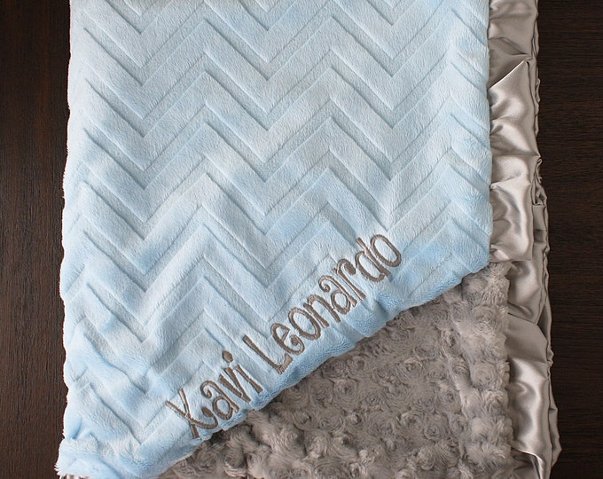 Embroidered Minky Blanket, baby boy blanket, personalized blanket, Blanket with name, Personalized baby blanket, monogrammed blanket