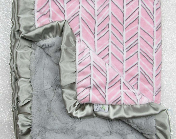 Minky blanket, baby girl blanket, baby gift, Herringbone blanket, Pink and grey, Custom minky blanket, luxe hide, plush minky, blush minky