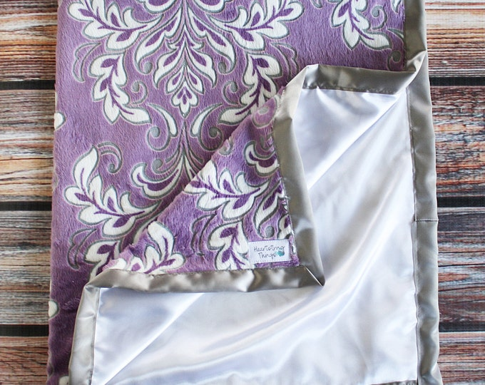 Baby Girl, Purple Minky, Violet minky, minky and satin, silk blanket, satin blanket, mar bella violetta, Purple and white, Grey Silver minky