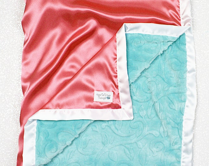 Customizable minky blanket, baby girl, baby blanket, coral and aqua, mermaid, coral and white, silky blanket, satin blanket, baby gift