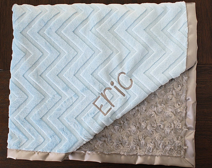 Minky Blanket, Personalized Embroidered Blanket, Blanket for Boy, Blanket with Name, Engraved Blanket, Grey and Blue, Baby Boy, Baby Girl