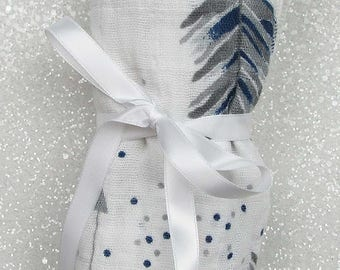Swaddle blanket, wrap blanket, double gauze, cotton newborn wrap, muslin, newborn photography prop, baby blanket, modern baby girl, baby boy