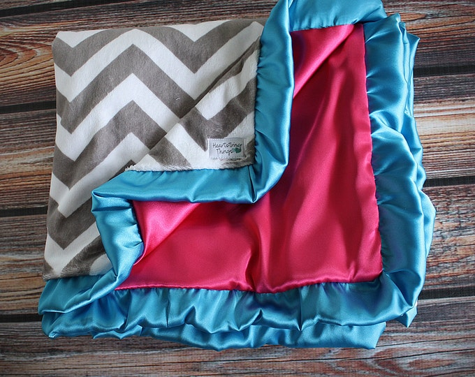 Minky blanket, satin blanket, blanket with ruffle, soft blanket, embroidered blanket, girl blanket, chevron and pink, blue, grey chevron,