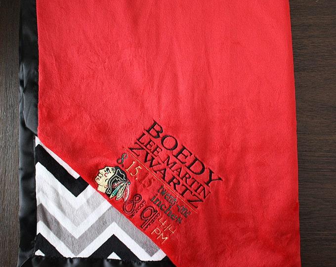 Customizable Minky Blanket, baby boy blanket, sports blanket, blackhawks, subway embroidery, birth stats, minky and satin, baby blanket