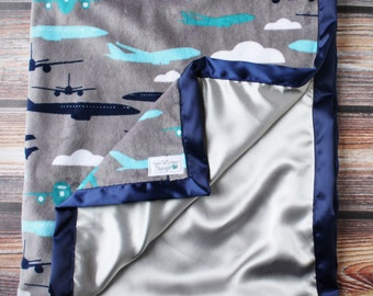 Minky Blanket, Baby Boy, Airplane Blanket, Aviator Blanket, Silk Blanket, Satin Blanket, Navy Blue and Grey, Blue and Silver, Soft Blanket