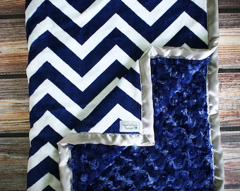 Minky Blanket, Adult Minky, Chevron Minky, Chevron Blanket, Oversized Blanket, Oversized Minky, Christmas Gift, Soft Blanket, Navy and White