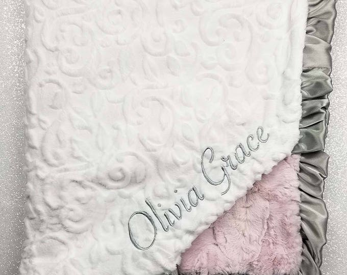 Embroidered Minky Blanket, Blanket with name, Personalized Blanket, Baby Gift, Pink and Silver, Vintage Pink, grey and pink, luxe rosewater