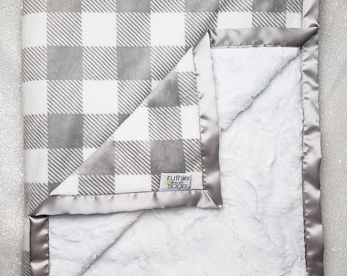Baby Minky | Plaid Blanket | Silver and White Blanket | Lumberjack nursery | Gingham nursery | Baby boy blanket | Grey | Buffalo Plaid |