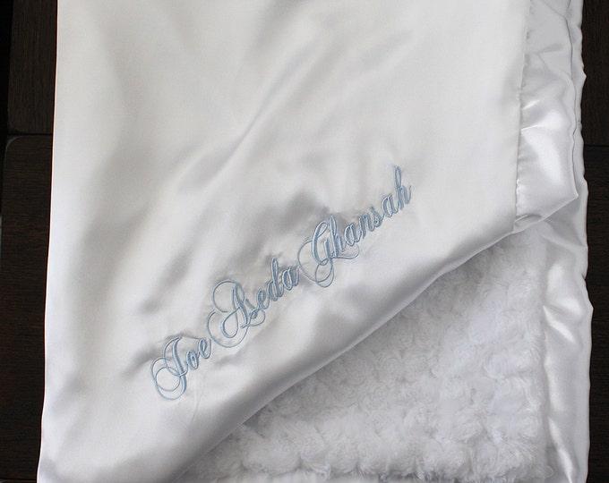 Minky Blanket, Blessing Blanket, Baptism blanket, satin and minky blanket, Christening Blanket, Embroidered Blanket, White and blue baby boy