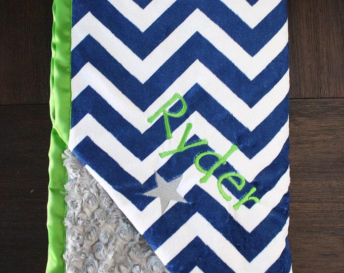 Custom Minky Blanket, satin and minky, large minky blanket, boy blanket, blue and green, personalized blanket, monogrammed blanket, seahawks