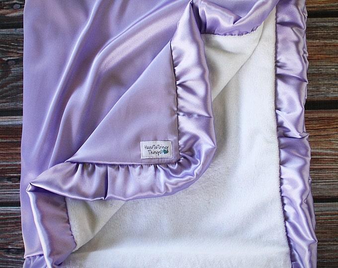 Minky Blanket, Lavender blanket, white and lavender, purple blanket, satin and minky, oversized minky blanket, adult minky blanket